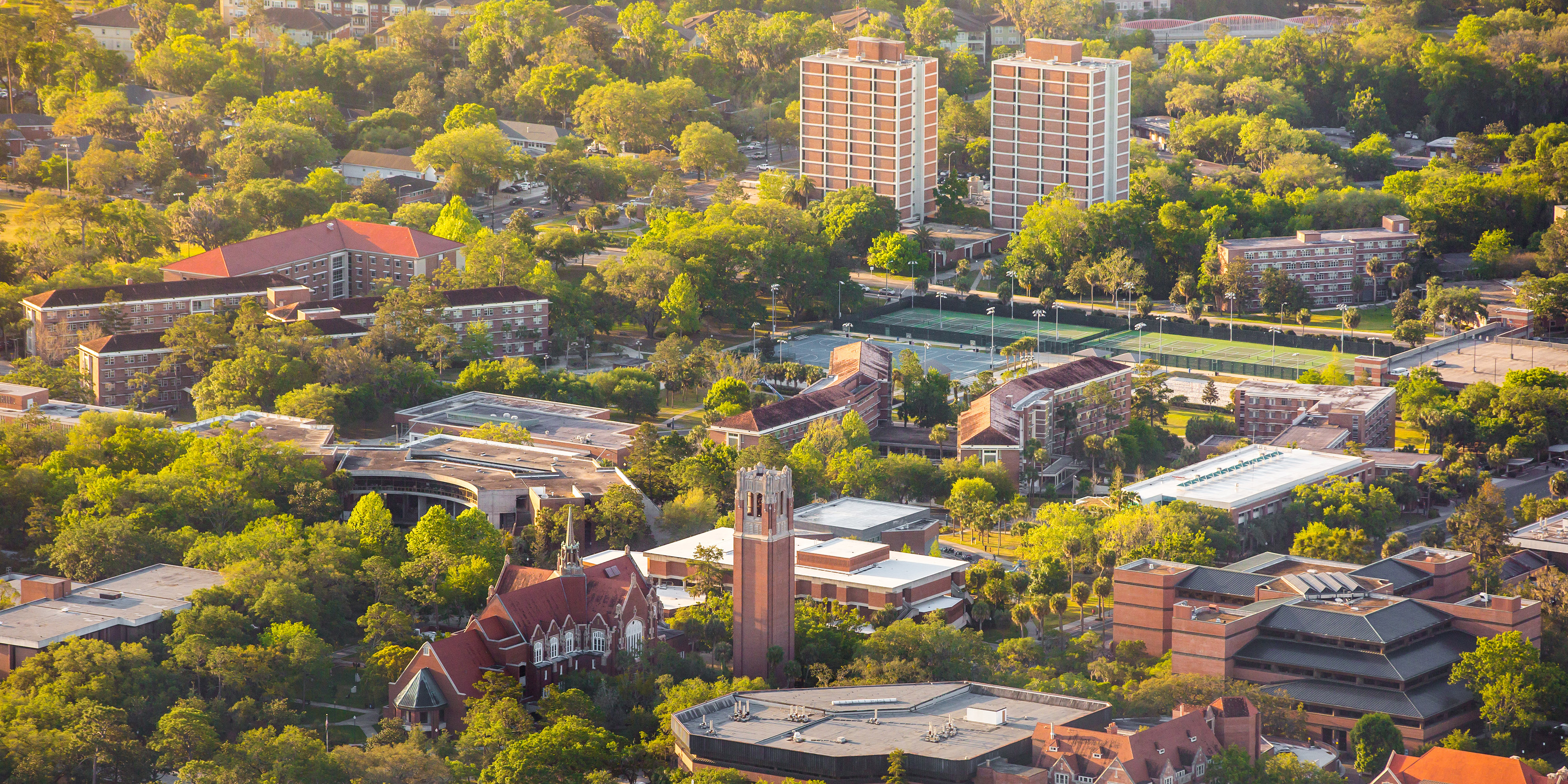 Aerial photo of UF Campus showing Beaty Towers prominently